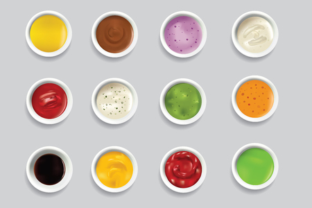 Bowls dip bowl sauces gravy dressing top view spicy food ingredient condiment delicious flavor seasoning spice vector illustration.