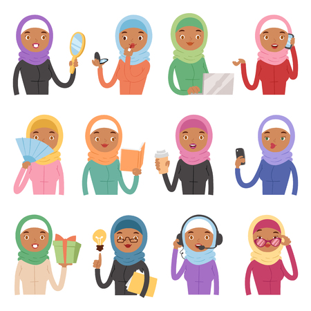 Arabic woman adult character different role Arabian Asia nationality islamic girl face in hijab vector illustration