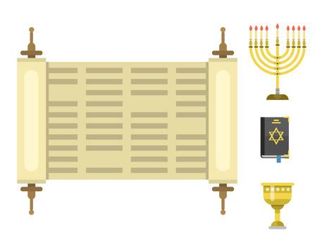 Judaism church traditional symbols isolated hanukkah religious synagogue passover hebrew jew vector illustration. Çizim