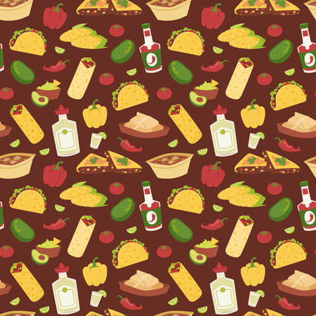 chips and salsa: Mexican traditional dish with meat mexico food vector seamless pattern background Illustration