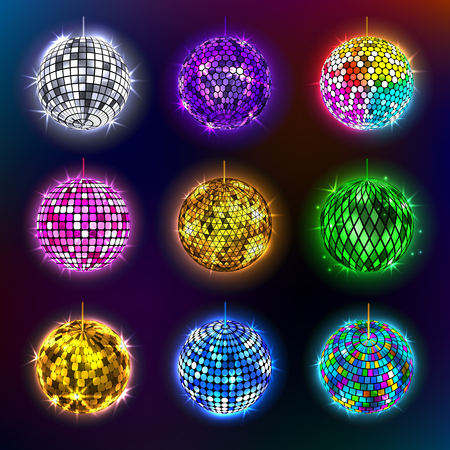 Disco balls vector illustration of discotheque dance and music party equipment round shiny entertainment.