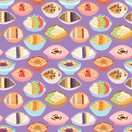 Cartoon seamless pattern healthy oatmeal porridge kasha pap morning cereal meal vector illustration. Illustration