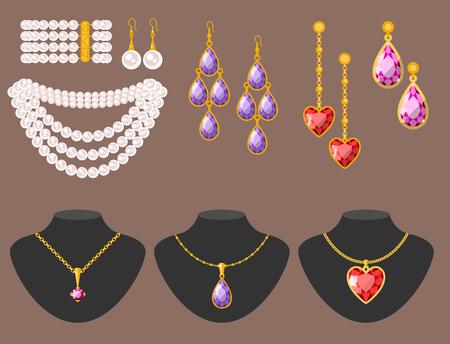 Traditional golden jewellery bangles diamond luxury fine minute precious gold jewelery vector illustration