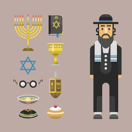 israel people: Judaism church traditional symbols isolated hanukkah religious synagogue passover hebrew character jew vector illustration.