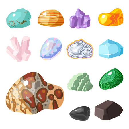 Semi precious gemstones stones and mineral stone isolated dice colorful shiny crystalline vector illustration Ilustração