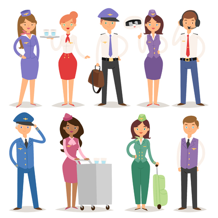 Vector Illustration airline plane personnel staff pilots and stewardess air hostess flight attendants people command Çizim