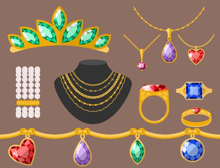 earrings: Traditional golden jewellery bangles diamond luxury fine minute precious gold jewelery vector illustration