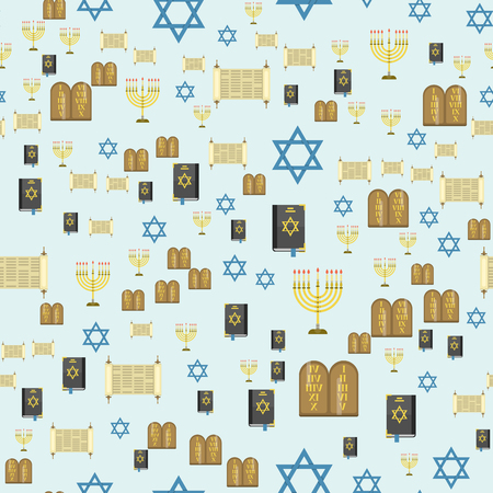 Seamless pattern hanukkah religious synagogue passover hebrew jew vector illustration. Ilustração