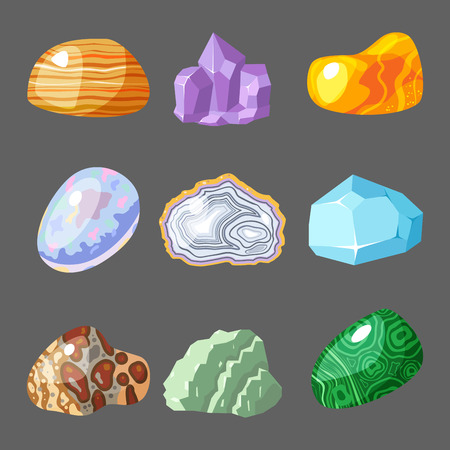 Semi precious gemstones stones and mineral stone isolated dice colorful shiny crystalline vector illustration Illustration