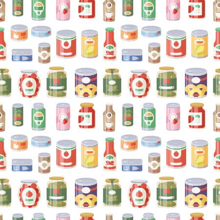 Colección de varias latas de alimentos enlatados envases metálicos producto producto ilustración vectorial sin patrón.