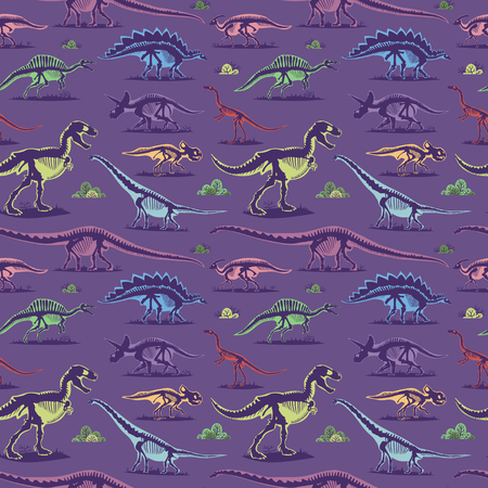 Jurassic dinosaur bones skeleton ancient archeology excavations seamless pattern background vector illustration.