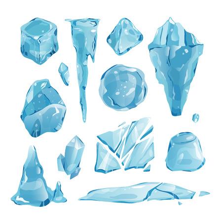 Realista casquetes de hielo ventisqueros y carámbanos roto pieza pedazo terrón congelado bloque frío invierno decoración vector ilustración