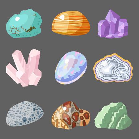 Halfedelbare edelstenen stenen en minerale steen geïsoleerd dobbelstenen kleurrijke glanzende kristallijne vector illustratie Stock Illustratie