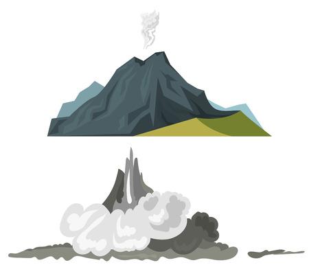 convulsión: Volcán magma naturaleza volando con humo erupción volcánica lava montaña ilustración vectorial