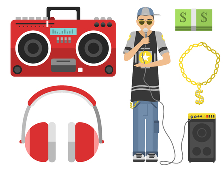 rapping: Hip hop character musician with microphone breakdance expressive rap portrait vector illustration.