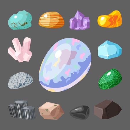onyx: Semi precious gemstones stones and mineral stone isolated dice colorful shiny crystalline vector illustration Illustration
