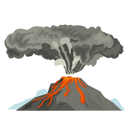 flaring: Volcano magma nature blowing up with smoke volcanic eruption lava mountain vector illustration
