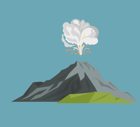 Volcano magma nature blowing up with smoke volcanic eruption lava mountain vector illustration