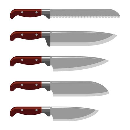 Cuchillo de cocina arma de acero daga afilado metal militar peligroso espada metálica ilustración vectorial Foto de archivo - 81042301