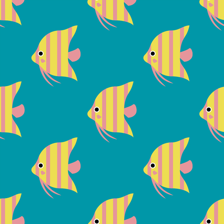 Exotic tropical fish race seamless pattern underwater ocean species aquatic strain nature flat vector illustration. Illustration