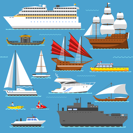 Super set of water ships boats transport vector illustration Stock Photo