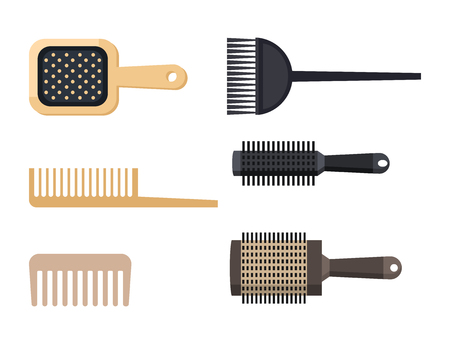 Fashion hairdresser comb with hair clipper and hairbrush isolated professional stylish barber tools for cutting vector illustration.