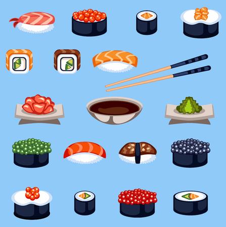Sushi food traditional asia japan meal vector illustration. Illustration
