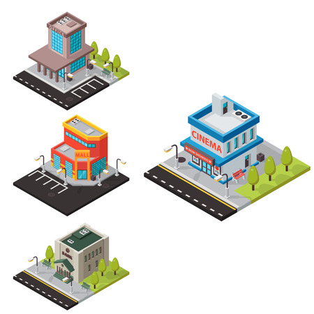 Vector isometric buildings isolated