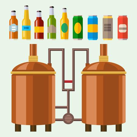 Cerveza proceso de elaboración de alcohol fábrica de equipos de producción de mashing hirviendo refrigeración fermentación ilustración vectorial. Foto de archivo - 83045252