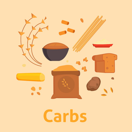 Food carbs isolated healthy ingredient bread diet meal carbohydrate group nutrition health superfood vector illustration Çizim