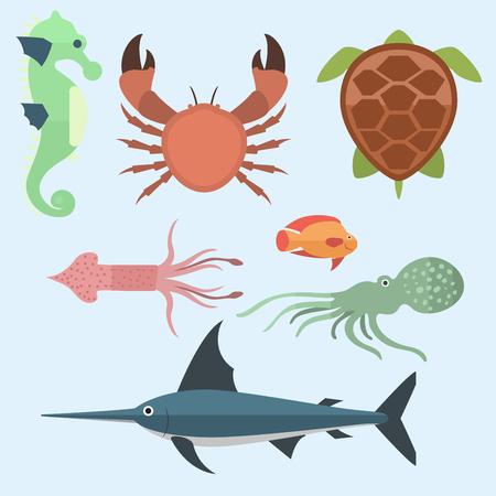 Vector sea animals creatures characters cartoon ocean underwater aquarium life water graphic aquatic tropical beasts illustration