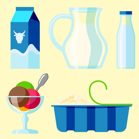 cottage cheese: Dairy milk products organic drink bottle healthy cream milk products nutrition farm calcium breakfast vector illustration.