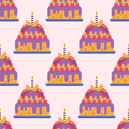 Wedding cake pie sweets dessert bakery flat seamless pattern pastry homemade delicious vector illustration. Illustration