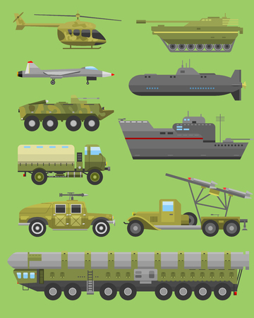 howitzer: Military technic transport vehicle armor flat vector illustration.