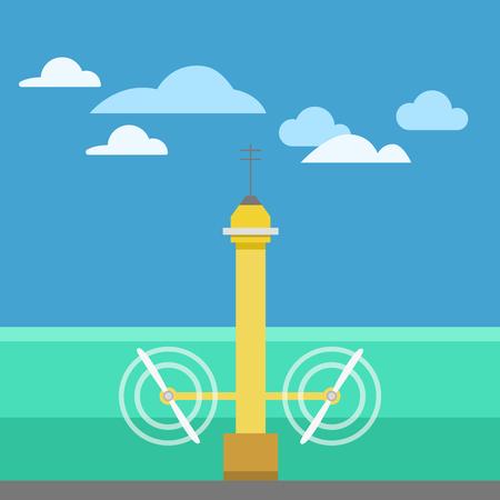 Eco turbine rotate on current strength technology background vector illustration. Illustration