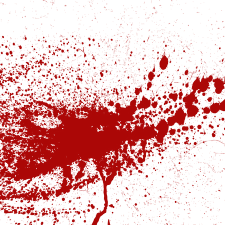 Blood or paint splatters splash spot red stain blot patch liquid texture drop grunge abstract dirty mark vector illustration Ilustracja