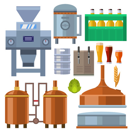 Beer brewing process alcohol factory production equipment mashing boiling cooling fermentation vector illustration.