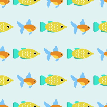 Exotic tropical fish race seamless pattern underwater ocean species aquatic strain nature flat vector illustration. Illustration