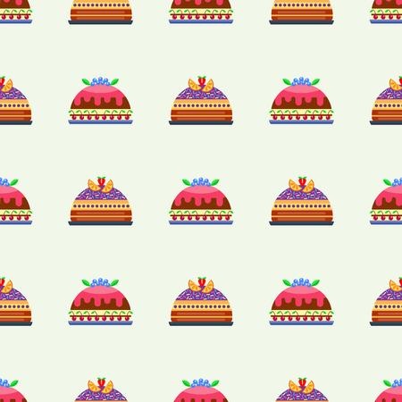 Wedding cake pie sweets dessert bakery flat seamless pattern pastry homemade delicious vector illustration. Illustration
