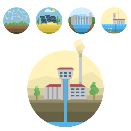 hydroelectricity: Generation energy types power plant icons vector renewable alternative solar wave illustration