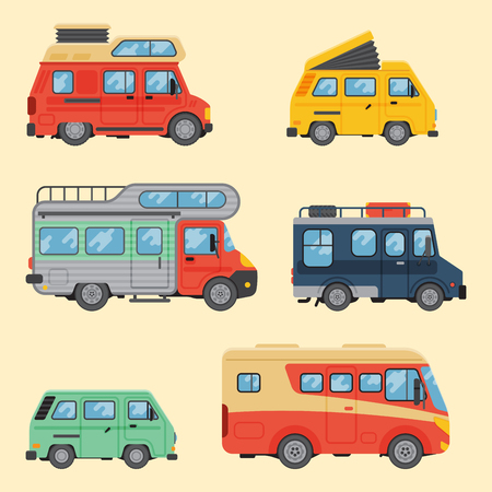 Campers vacation travel car summer nature holiday trailer house vector illustration flat transport