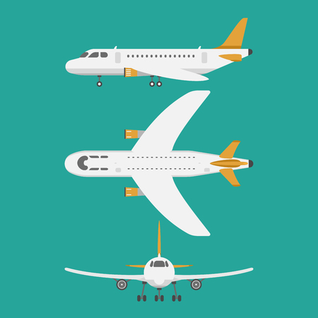 fuselage: Vector airplane illustration top view and aircraft transportation travel way design journey transport. Illustration