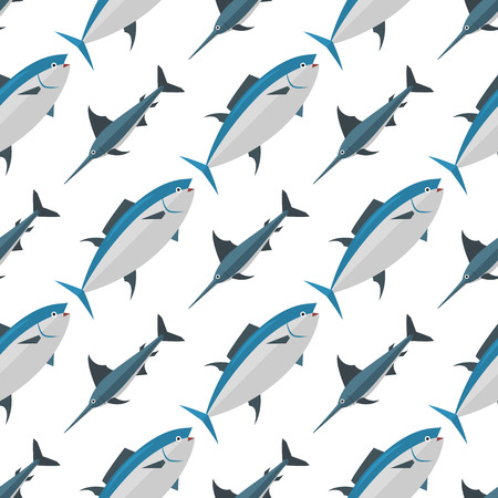 bluefin tuna: Sea tuna fish animal nature food seamless pattern ecology shark environment tropical natural thunnus vector illustration.