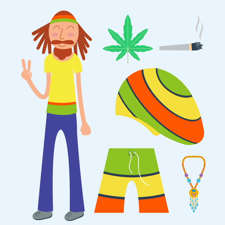Rastafarian cannabis peace ganja icons set in flat style marijuana smoking equipment vector illustration Illustration