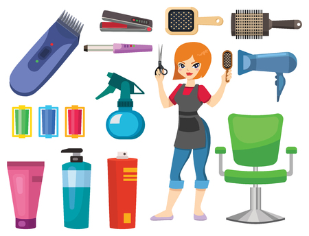 Fashion hairdresser with hair clipper and hairbrush isolated professional stylish barber tools for cutting vector illustration. Client glamour hairdressing work. Illustration