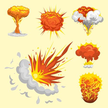 Storyboard: Cartoon explosion boom effect animation game sprite sheet explode burst blast fire comic flame vector illustration.