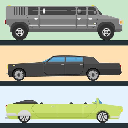 詳細なベクトル高級リムジン長い車交通詳細自動ビジネス輸送設計速度ピックアップ グラフィック
