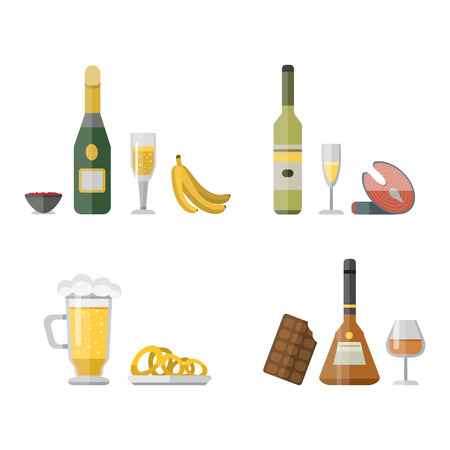 Alcohol drinks beverages cocktail appetizer bottle lager refreshment container and menu snacks drunk concept different glasses vector illustration. Restaurant tequila rum party pub cognac.