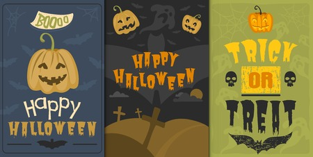 halloween background: Set of happy halloween greeting card vector illustration party invitation design with spooky emblem. Illustration