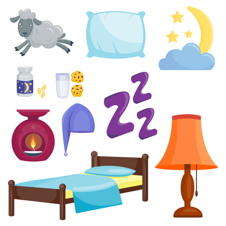 sleeping pills: Sleep icons vector illustration set collection nap icon moon relax bedtime night bed time elements. Illustration
